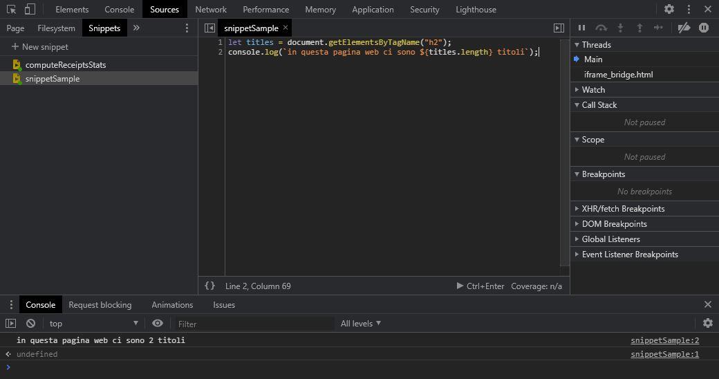 eseguire codice javascript custom chrome